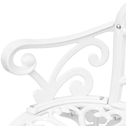 [casa.pro] Gartenbank Weiß Gusseisen – Wetterfester 2-Sitzer rund aus Metall im Antik-Design – Parkbank / Sitzbank / Eisenbank im Landhausstil - 5