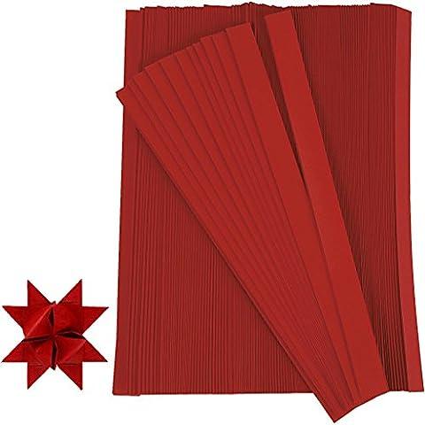 Tiras de papel para crear estrellas, A: 15 mm, dia: 6,5 mm, rojo, 500ud, l. 45 cm