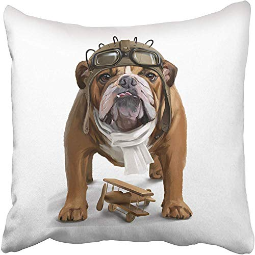 tgyew Decorative Throw Pillow Cover Square Size 18x18 Inches English Bulldog Aviator Pillowcase with Hidden Zipper Decor Cushion Gift for Holiday Sofa Bed