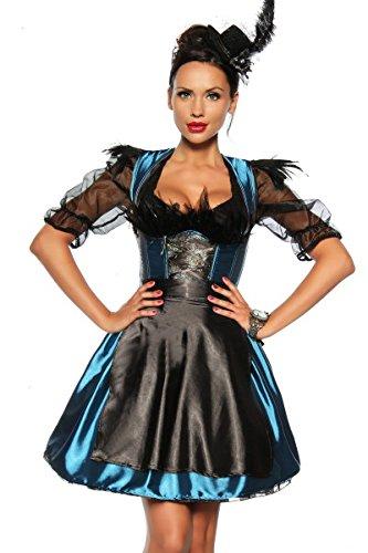 Imagen de alta calidad tirolesa de disfraz de satén con ojo de pavo real y ribete muelle–turquesa/negro talla s–xxl 12596 türkis/schwarz 44