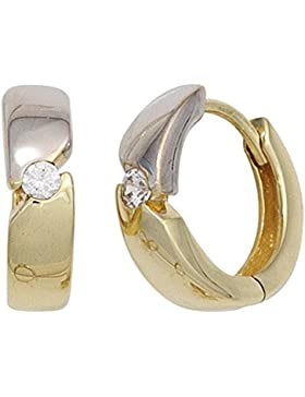 Ohrringe Creolen 13mm aus 333 Gold Gelbgold mit Zirkonia weiß Ohrschmuck Damen