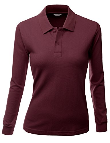 Xpril Damen Polo-Shirt, langärmelig, luxuriös - Rot - X-Groß - Ärmelloses Rollkragen Mock