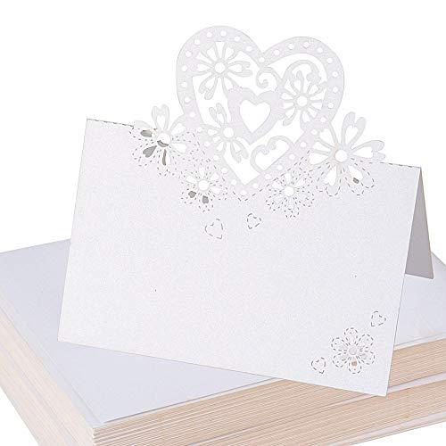 (90*60mm) 100 Stück Tischkarten Platzkarten Sitzkarte Namenskarten Namensschild Namenskärtchen Hochzeitskarten Tischkärtchen Herz Weiß für Hochzeit Party Feste Geburtstag Taufe