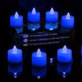 PK Green Battery Tea Lights | Set of 12 Blue Flickering LED Candles | Realistic Flameless Electric Tealights | Decorative Battery Operated Fake LED Votives for Party, Birthday, Kids, Bedroom, Wedding, Festivals | Small Fake LED Candle Gift Set