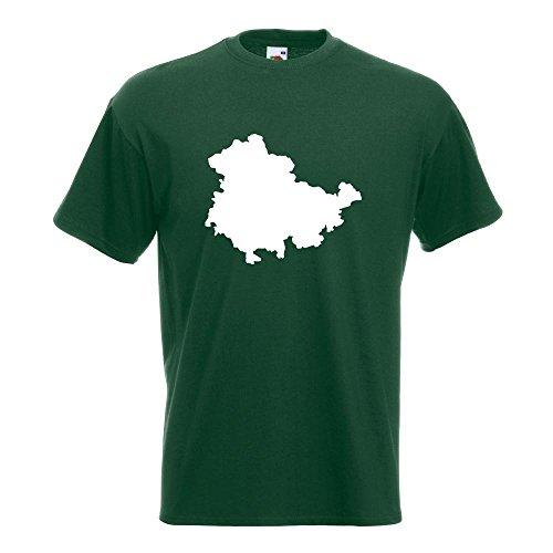 KIWISTAR - Thüringen Deutschland Silhouette T-Shirt in 15 verschiedenen Farben - Herren Funshirt bedruckt Design Sprüche Spruch Motive Oberteil Baumwolle Print Größe S M L XL XXL Flaschengruen