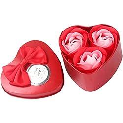 LSAltd 3 Stücke Rose Blume Seifen, Mode Herzform Duftenden Bad Körper Seife Hochzeit Geschenk Wohnkultur (Rot)