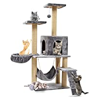Multi-Level Cat Trees with Sisal-Covered Scratching Posts, Plush Perches and Condo for Kittens, Cats and Pets (140cm, sliver)