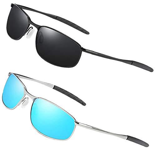 FEIDU Sportbrille Sonnenbrille Herren Polarisierte-HD Lens Metal Frame Driving Shades FD 9005 (2er pack-Schwarz/Schwarz-Blau, 57)