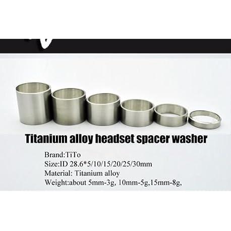 6 pcs titanio bicicleta auricular v stago espaciadores 5 10 15 20 25 30 mm espaciador arandela