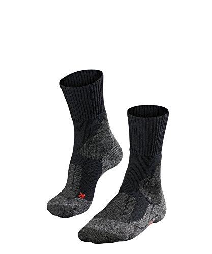 FALKE TK1 Damen Trekkingsocken / Wandersocken - schwarz, Gr. 39-40, 1 Paar, extra starke Polsterung, Merinowolle, feuchtigkeitsregulierend