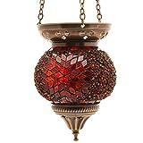 Mosaik Lampe Hängelampe Windlicht Pendelleuchte Aussenleuchte Deckenleuchte aus Glas Teelichthalter Orientalisch Handarbeit dekoration - Gall&Zick (Rot m)