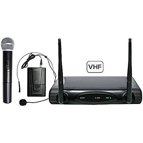 SET 6082PL-A - Doppio radiomicrofono VHF (archetto + gelato) per animazioni, karaoke... 175,50/197,15 mhz