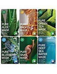 TOSOWOONG Pure masksheet 12PCS /Mask pack/Essence du visage masque feuille - thé vert/bleuets/Aloe/escargot/Deep sea eau/Propolis (6 Types X 2)