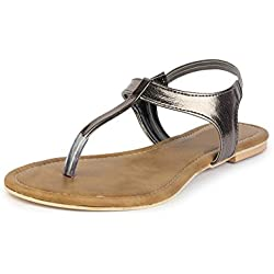 Do Bhai Sandal-Virus Metalic Flat Sandals for Women (EU39, Gunmetal)
