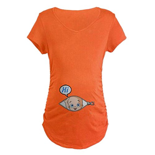 Q.KIM T-Shirt de Maternité Femme Maternité Grossesse Amusant Humour Imprimé-Hi série Manche Courte, Orange XXL