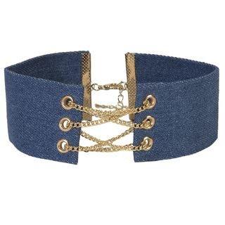 Neue Damen Westlichen Anbinden Choker Gote Pop Mode Denim Wildleder Halskette - Denim Korsett (Wildleder Korsett)