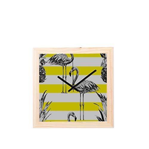 Wietops Kühle Gestreifte Sommer Flamingo Nicht tickt Platz Stille Holz Diamant Große Display Digital Batterie Wanduhren Malerei Zifferblatt Für Küche Kind Schlafzimmer Home Office Decor