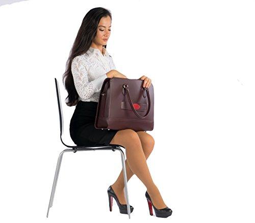Su.B Damen 15,6 inch Laptoptasche Notebooktasche Handtasche Umhängetasche mit Trolley-Riemen echtes Leder
