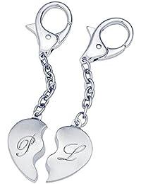Llavero Corazón de acero inoxidable – Llaveros para parejas – Personalizado con letras iniciales – Tamaño (medio corazón): aprox. 2,4 x 3,7 cm