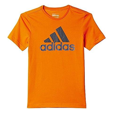 Adidas YB ESS Logo T-shirt pour garçon–Orange/Bleu Marine/Bleu/NARANJ/maruni/azumin, Taille