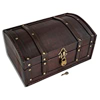 Brynnberg - Wooden Pirate Treasure Chest 30x20x15cm Decorative Storage Box - Vintage Decoration Handmade - With Padlock Lockable With Key