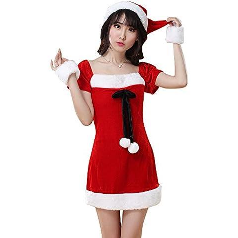 MissFox Disfraz De Mamá Noel Vestido De Navidad Corto De La Manga