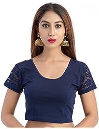 Fressia Fabrics Women'S Cotton Saree Blouse (100__Brownn_Darkblue_Free Size)