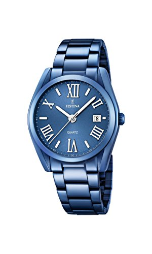 Festina Women's Quartz Watch with Blue Dial Analogue Display and Blue Stainless Steel Plated Bracelet F16864/3
