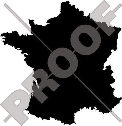 France Français Carte forme, silhouette 129,5 cm (132 x) Bumper Sticker en vinyle, en - Choix de 22 couleurs