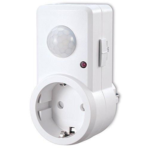 sonero IMS060 Infrarot-Bewegungsmelder Zwischenstecker – Innenmontage in Steckdose, weiß, Schutzklasse: IP20, 120° / 9m Arbeitsfeld