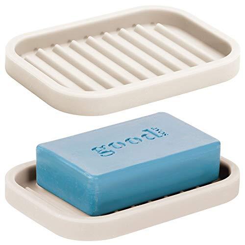 mdesign set da 2 porta saponetta - pratico porta sapone bagno in silicone - fantastico portasapone doccia da appoggio compatto ideale per la doccia - crema