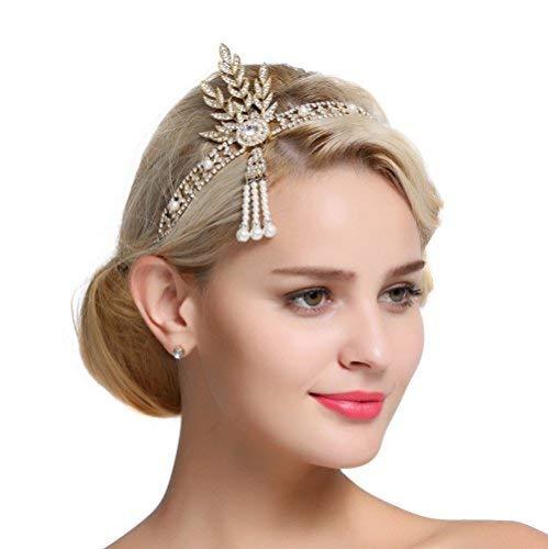FAIRY COUPLE Art Deco 1920er Flapper Great Gatsby Blätter Braut Tiara Perlen Kopfstück Stirnband Gold