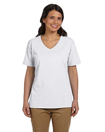 hanes-da-donna-con-scollo-a-v-52-ml-comfortsoft-maglietta-in-cotone-bianco-bianco-us-3x
