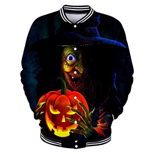 Lil Teufel Kostüm - Battnot Halloween Kostüm für Damen Herren Pullover Große Größen, Unisex Männer Frauen Baseballuniform Cosplay Party Paar Teufel hält einen Kürbis Gedruckt Oberseiten Tops Womens Sweatshirt XS-XXXXL