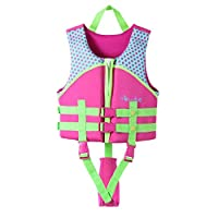 Zilee Kids Float Vest Swim Vest - Boys Girls Float Jacket Swimming Suits Adjustable Safety Strap Training Aid Pink Yellow For 2-10 Years Child