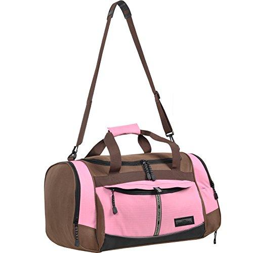 Sporttasche Keanu ADVENTURE ** Viele Fächer z.B. Schuhfach, Seitentaschen, Vordertasche ** 40 Liter Fitness Tasche Sport Sauna Tasche Reisetasche (Braun Pink)