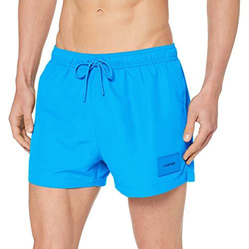 Calvin Klein Herren Short Drawstring Badehose, Blau (Ibiza Blue 439), Large (Herstellergröße: L) (Drawstring Shorts)