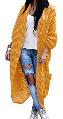 Damen Strickjacke Pullover Pulli Jacke Oversize Boho Frühling Cardigan Lose Oberteil Damen Lang Mantel Jacke Cardigan Blazer S M L XL (629) (Einheitsgrösse, Curry) - Lange Blazer-jacke