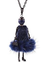 55098d70c0ce Collier pendentif élégante poupée robe bleu fourrure synthétique