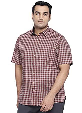 All Men's Checkered Regular Fit Casual Shirt (1001883280_Orange_48 cm_Orange_3)
