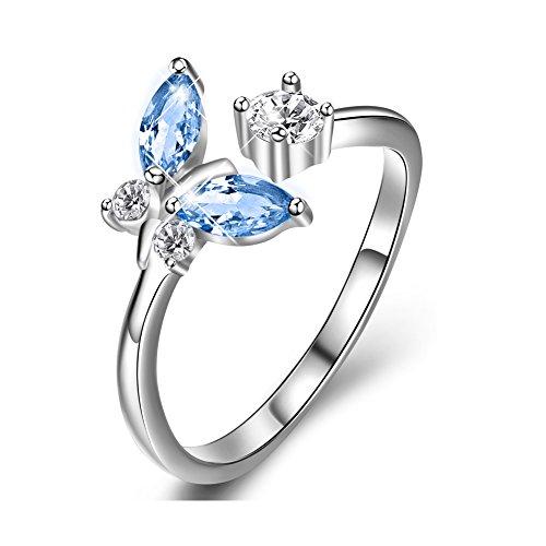 Sterling Silber Schmetterling offener Ring mit Geschenk-Box für Damen Mädchen (Blau)