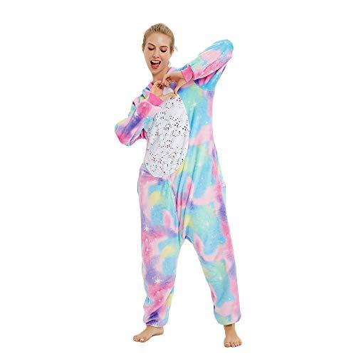 Süßes Einhorn Overalls Jumpsuits Pyjama Fleece Nachtwäsche Schlaflosigkeit Halloween Weihnachten Karneval Party Cosplay Kostüme für Unisex Kinder und Erwachsene (S, Stern Einhorn) - 2