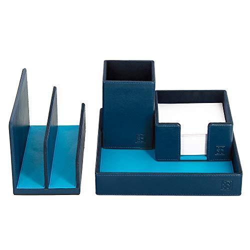DUDU Schreibtisch-Set aus Leder für das Büro 4-teilig mit Taschenleerer Stifthalter Briefhalter Zettelbox Blau -