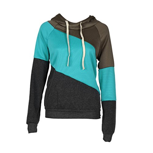 Felpa con cappuccio per le donne, FEITONG maniche lunghe maglione casuale pullover cappotto incappucciato (Blu, (Arrampicata Con Cappuccio Pullover)