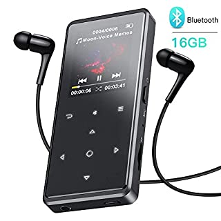 AGPTEK 16GB Bluetooth Mp3 Player, Metal HiFi Music Player with Touch Button, FM Radio, Voice Recorder, Video, Expandable up to 128GB, Black (Headphone Included)