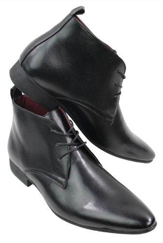 Bottines homme simili cuir noir marron design italien chic Chelsea avec lacets Noir