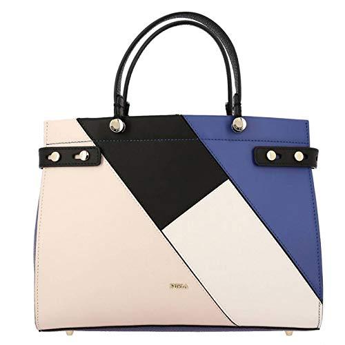Gold-getönten Hardware (Furla Damen Handtasche Lady M Medium, Blau (Pervinca/Lino/Onyx), Einheitsgröße)