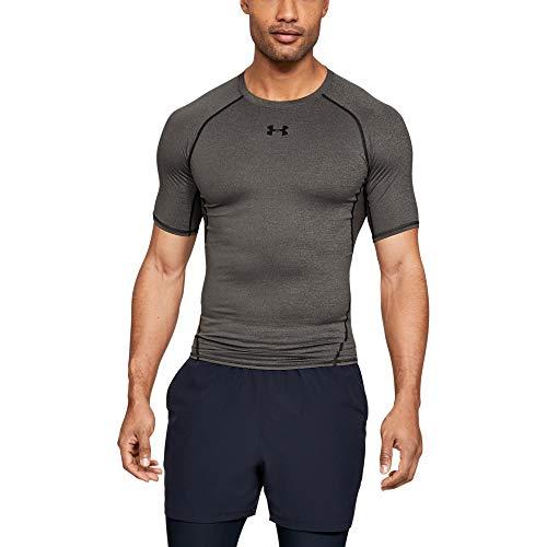 Under Armour Herren Kompressions-Shirt UA HeatGear Armour kurzärmlig, Funktionshirt mit Netzstoffeinsätzen, Sportshirt mit ultraengem Schnitt - Grau Körperliches Training