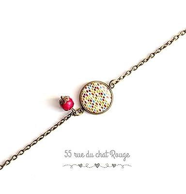 bracelet chaine fine, cabochon losange multicouleur, printemps, coloré