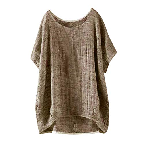 Innerternet Damen T-Shirt Elegant Leinen Kurze Ärmel Baumwolle Loslassen Plus Größe Sommer Tunika Hemd Bluse Pullover mit Rundhals